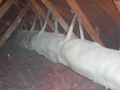 Encapsulated ducts are sprayed with ccSPF in an unconditioned attic