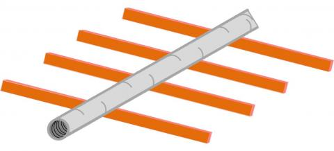 Flex ducts may rest on ceiling joists or truss supports