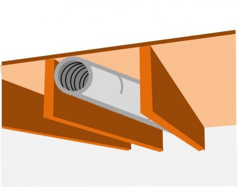 Floor joist cavities can make acceptable duct chases