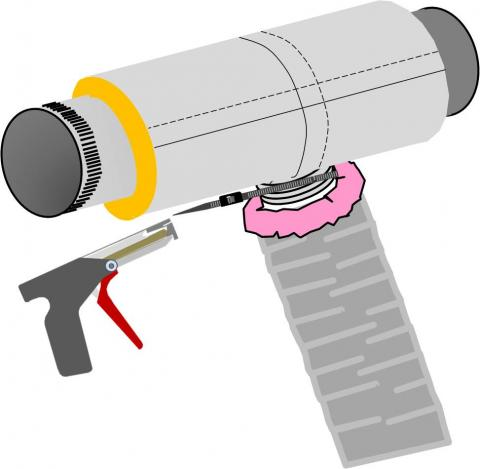 A nylon draw band and tensioning tool are used to secure the inner coil of the pre-insulated flexible duct