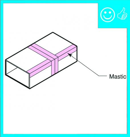 Right – Metal or fiberboard duct is mastic sealed at seams
