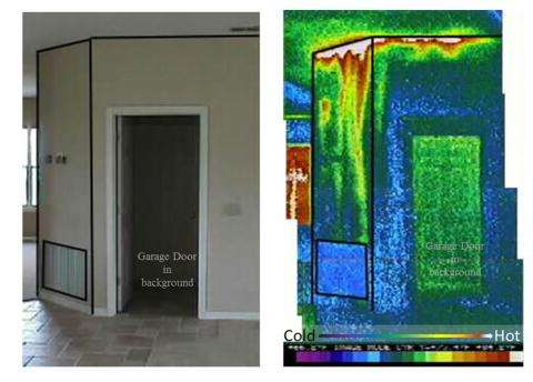The grille in the photo on the left brings air into a return air plenum under an air handler platform. As shown in the infrared image on the right, the plenum is not air sealed so hot attic air is being pulled into the air handler closet.