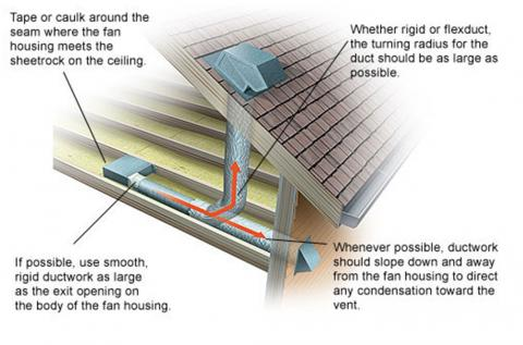 Bathroom exhaust fan can vent out through the wall or up through the roof