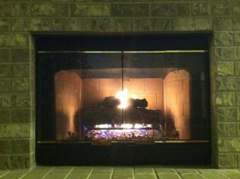 A ventless gas fireplace has no chimney