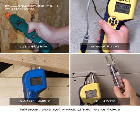 Test with a moisture meter before installing building materials
