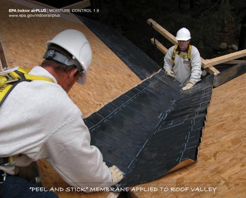 Peel and Stick Membrane Applied to Roof Valley