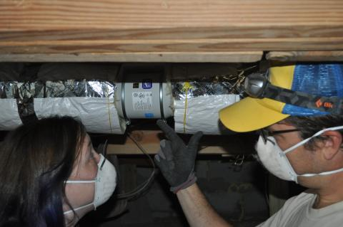 Right – a booster fan was installed in this long dryer duct to increase air flow and help prevent the duct from being clogged with lint