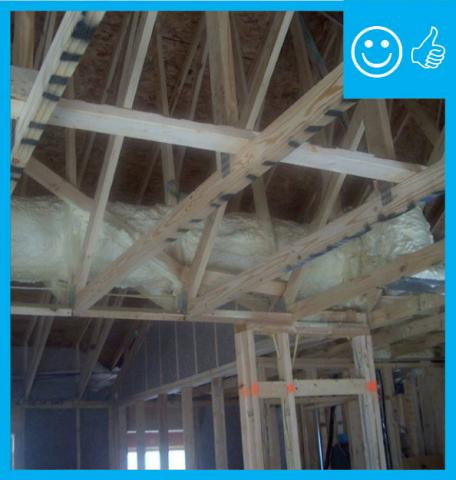 Right: ductwork is fully encapsulated with ccSPF prior to ceiling installation and burial