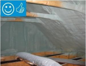 Right - Spray foam insulation has been sprayed onto the underside of the sloped roof and the gable end wall to provide a sealed, insulated attic for housing the HVAC ducts