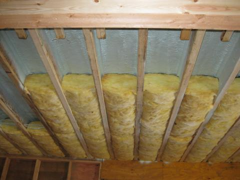 Garage ceiling with spray foam flash air seal plus batt insulation
