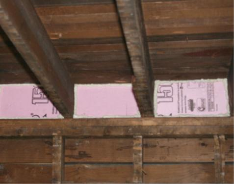 These floor joist bays have been properly air sealed with caulked rigid foam insulation
