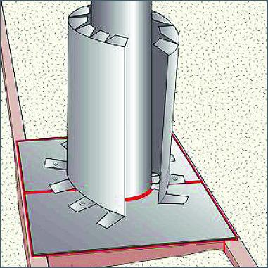 Form sheet metal shield around pipe keeping 3-inch clearance
