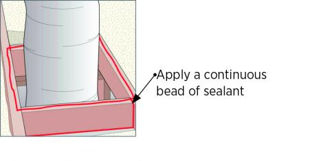 Seal all wood framing joints surrounding the chase with sealant and lay a bead of sealant along top edge of chase framing