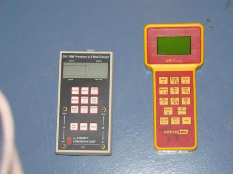 Pressure manometers are used to determine the level of pressurization and rate of leakage when conducting blower door testing and building diagnostics