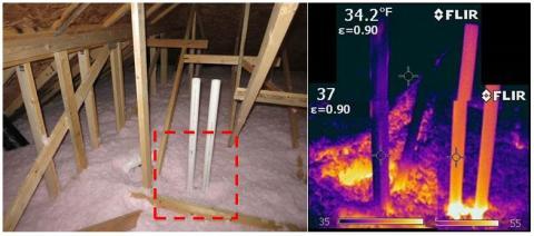 An IR camera image shows gaps around HVAC flue pipes allow conditioned air to leak through blown fiberglass into the attic