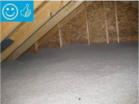 Right - Blown insulation in existing attic provides even coverage completely filling the attic space to a depth that covers the ceiling joists