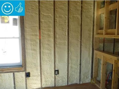 Right - Closed-cell spray foam insulation fills the wall cavities of the exterior walls in this home retrofit