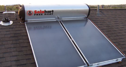 Rooftop portion of thermosiphon solar hot water system