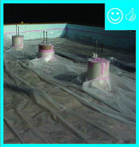 Right-Polyethylene sheeting is correctly installed over aggregate and taped to pillars and foundation wall