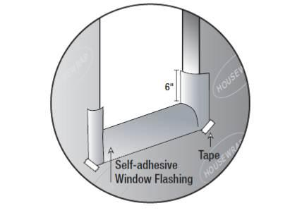Install self-adhesive sill flashing