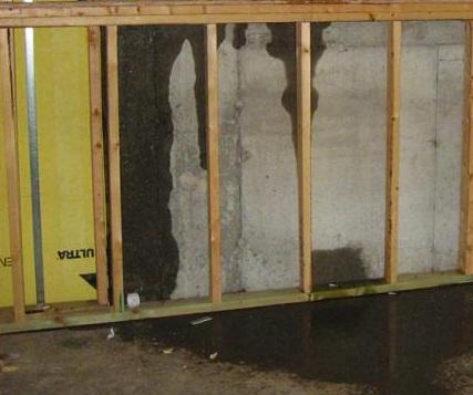 Moisture infiltration in below-grade wall