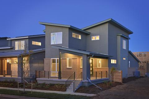The varied roof pitches offer multiple options for solar panel placement regardless of home orientation for these production homes in Colorado.