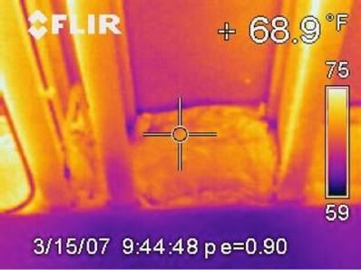 Infrared image of a rim joist