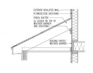 Air sealing at porch roof at 1/2 inch plywood exterior sheathing ...