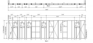 2 foot plan layout with wall elevation