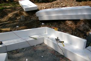 In cold climates, install slab edge insulation when pouring slab on grade foundations.