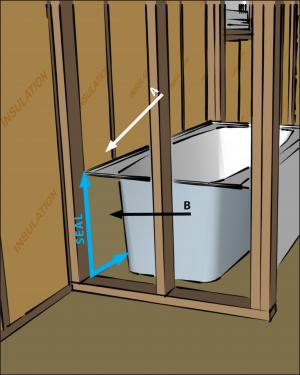 Install an air barrier behind showers and tubs installed on exterior walls.