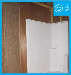 Right – Air barrier installed behind shower stall