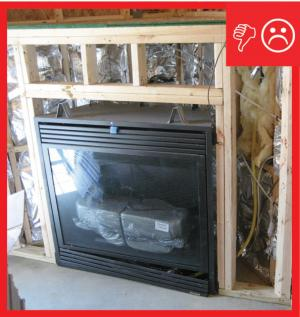 Wrong No Rigid Air Barrier Is Installed Behind Fireplace