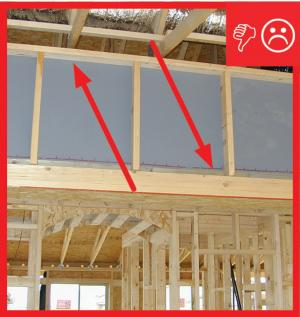 Wrong – Backing not air sealed prior to insulation