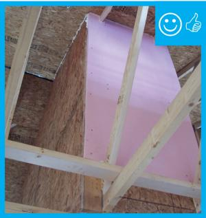Right – Rigid air barrier is installed to hold insulation in place