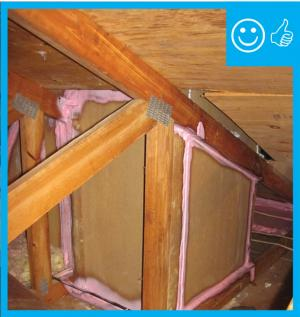 Right – Rigid air barrier properly sealed around skylight shaft