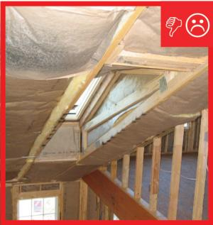 Wrong – Insulation is misaligned with air barrier