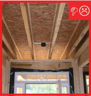 Wrong – No air barrier between porch attic and conditioned space