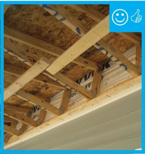 Right – Air barrier is installed prior to porch attic framing
