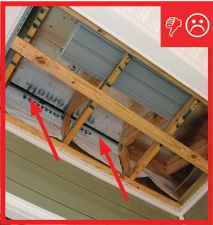 Wrong – Air barrier not sealed between porch attic and conditioned space