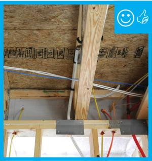 Right – Air barrier and penetrations sealed between porch attic and conditioned space