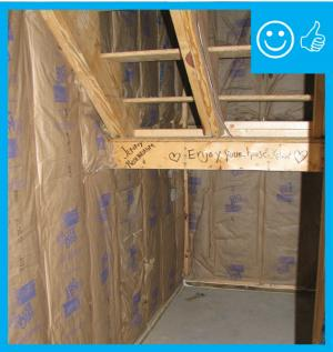Right – Insulation properly installed before air barrier