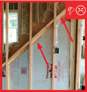 Wrong –  Air barrier not sealed (picture taken from garage looking into house)