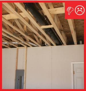 Wrong – No air barrier is present between garage and conditioned space