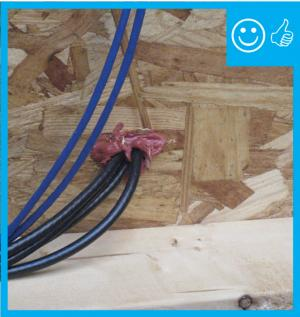 Right – Wiring penetrations properly air sealed