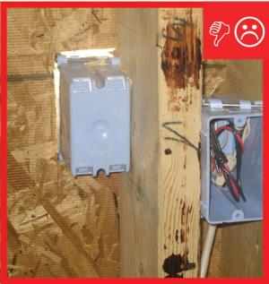 Wrong – Electrical box not air sealed