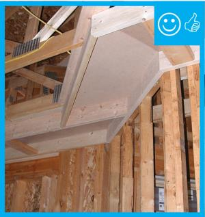 Right – Air barrier is present between the dropped ceiling/soffit and the attic