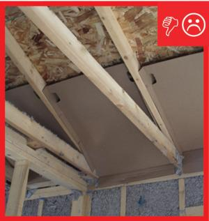 Wrong – Framing and wind baffle installation will not allow for required insulation depth