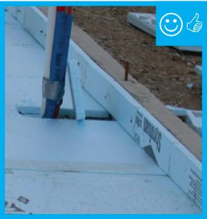 Right – Slab insulation extends to the top of the slab
