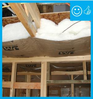 Right – Insulation installed to correct depth and will be aligned with air barrier
